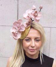 Gold Sequin Nude Beige Orchid Flower Fascinator Hat Wedding Hair Clip Races 3131