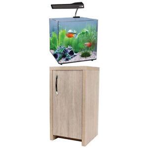 Aqua One AquaNano 40 - 51L Aquarium & Cabinet Black/White/Oak Fish Tank Filter