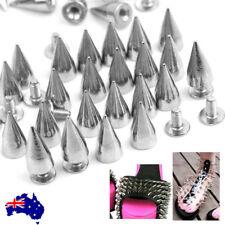100pcs Silver Metal Studs Rivet Bullet Spike Cone Screw Leather Craft DIY AU