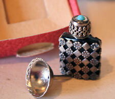 French Sterling Silver Jeweled Perfume Bottle 1900s