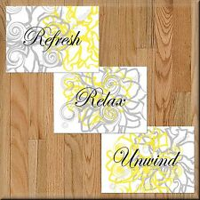 Yellow Gray Bathroom Wall Art Pictures Prints Floral Decor Relax Refresh Unwind