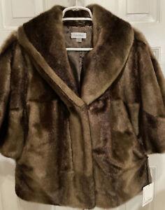 New Calvin Klein Brown Faux Fur Crop Jacket Size M.