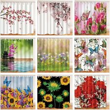 Beautiful Flower Waterproof Polyester Fabric Bathroom Shower Curtain & 12 Hooks
