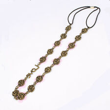 Lady Fashion Metal Chain Jewelry Antique Brass Flower Elastic Hair Headband