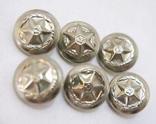 60's Vintage Rare Israel Police Force Lot  6 Uniform Silver Color Metal Buttons