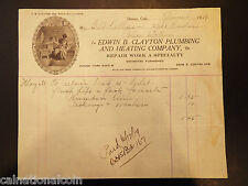 Edwin B. Clayton Plumbing and Heating Company Vignette Letterhead Invoice 1919