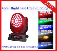 Led Moving Head 36*18W Zoom RGBWA+UV Home/DJ Light Flight Case 4pcs Free Shippin