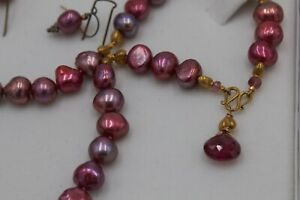 Pink Pearl Necklace and Earring Set Handmade