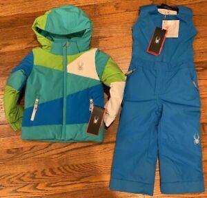 Xmnt Girls 2 Pcs Blue Floral Winter Snowsuit Skisuit Jacket Pant Set