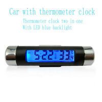 2 in 1 Clock & Digital LCD Temperature Display Electronic Thermometer Car Indoor