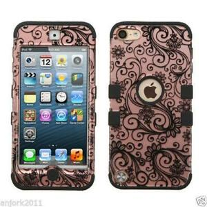 for iPod Touch 5th 6th 7th Gen - ROSE GOLD Swirl Flower Armor Impact Hybrid Case
