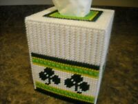 TISSUE BOX COVER -  IRISH SHAMROCKS - Plastic Canvas