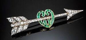 1.21ct Natürlicher Diamant 14K Gelbgold Smaragd Hochzeitstag Anstecknadel