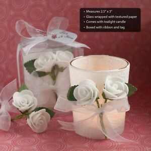 60 White Rose Candle Wedding Bridal Shower Party Favors