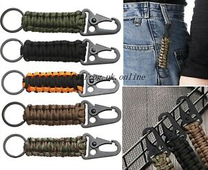 Handmade Paracord Cobra Keychain Keyring Carabiner camping survival Camo..