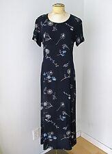 VGC Laura Ashley Black Full Length Rayon Dress Blue White Sketch Floral US 6