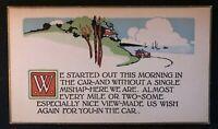 Postcard ~Car Travel~ Friendship~Poem Arts & Crafts AM Davis 1914-g279