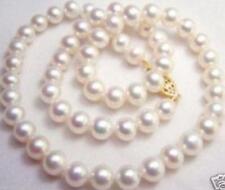46cm Original 8-9mm Weiße Perle Strang Halskette Kultiviert In Süßwasser