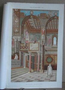 Antique Byzantine Architecture Chromolithograph. Palatine Chapel at Palermo.