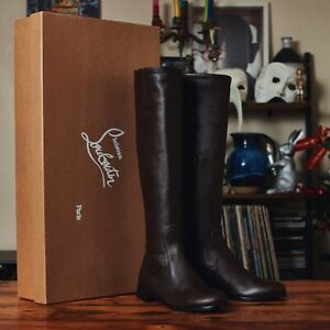 Christian Louboutin Knee High Boots Size UK 6 Brown Leather NEW RRP £1345