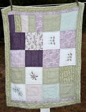 "Quilted  light green & purples Patchwork Pillow Sham    26x20"""