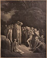 THE SHADOWY FORMS PRINT BY GUSTAVE DORE c.1889 DEMONS DEATH SOULS