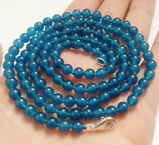 """Long 36"""" 8mm Natural Blue Apatite Gemstone Round Beads Necklace AAA"""