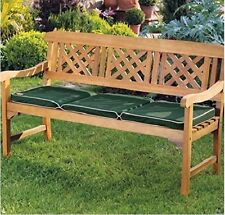 Wooden Garden Bench Seat 3 Seater Cushion Outdoor Patio Balcony Furniture Wood