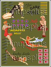 Pinup Girl Nose Art Model Airplane Waterslide Decals backed by Olive Drab #341