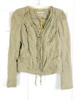 ANTHROPOLOGIE HEI HEI womens size 4 olive green ruffled 100% linen zip up jacket