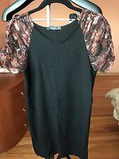 Alexander McQueen McQ Black Short Silk  Sleeve Sweater Dress  Size S