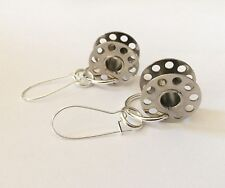Vintage Cotton Bobbin Earrings Steampunk Recycled Silver Metal Sewing Parts Goth