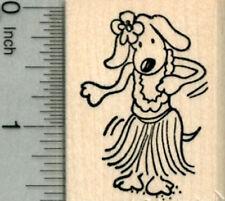 Hula Dog Rubber Stamp, Luau Party Series, Grass Skirt E30202 WM