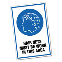 Hair Nets Must Be Worn In This Area Sticker Decal Safety Sign Car Vinyl #6445ST