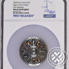 2020 NGC MS69 Antiqued First Releases Tuvalu 5 oz Silver Signs The Zodiac Coin