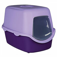 Trixie Vico Hooded Cat Kitten Mess Litter Tray Flap Lilac Purple 40x40x56 cm