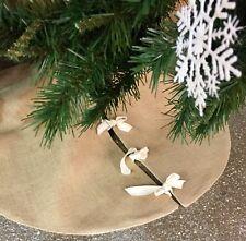 Traditional Natural Hessian Christmas Tree Skirt Decoration Holiday Rustic