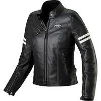 Spidi Ace Ladies Leather Motorcycle Jacket Black/Ice 555778 Size 14