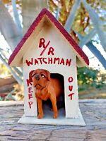 St Bernard Carved Dog and Doghouse Wood Carving Primitive Folk Art Vintage