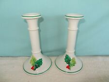 Pair of Porcelain Candle Holders Christmas Holly Made in Italy Vintage Holiday