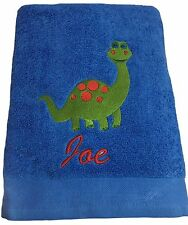 Personalised, Boys Dinosaur, Bath, Beach, Swimming Towel