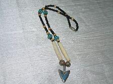 Estate Rustic Black Tan Turquoise Plastic & Wood Bead with Silvertone Arrowhead