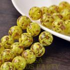 New 5pcs 14mm Lampwork Glass Dots Loose Spacer Round Beads Charms Yellow
