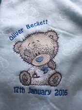 Personalised Embroidery Baby Tatty Grey Teddy Bear Pink Blue Fleece Blanket Gift