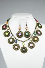 Vintage Multicolour Shell Necklace Earrings Set, Bronze Antique Style, Handmade