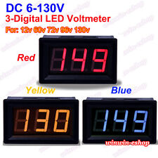 DC 6-130V 3 Digital LED Volt Voltage Meter Voltmeter 24V 36V 48V 72V Car Battery