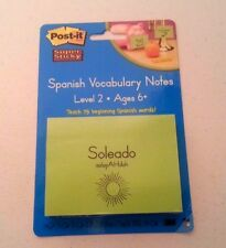 Spanish Vocabulary Words- Post It Notes 75 vocabulary words-Level 2 Ages 6+