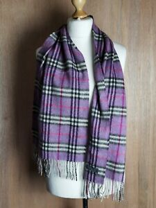 """Vtg Burberry London Scarf  purple classic check 100% Lambswool Authentic 60""""x12"""