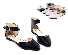 Black Ankle Strappy Point Toe Slip On Women Ballet Flats Shoes Size 9