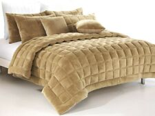 Plush Augusta Faux Mink Comforter Set   Quilt Set   300gsm Fill   Latte